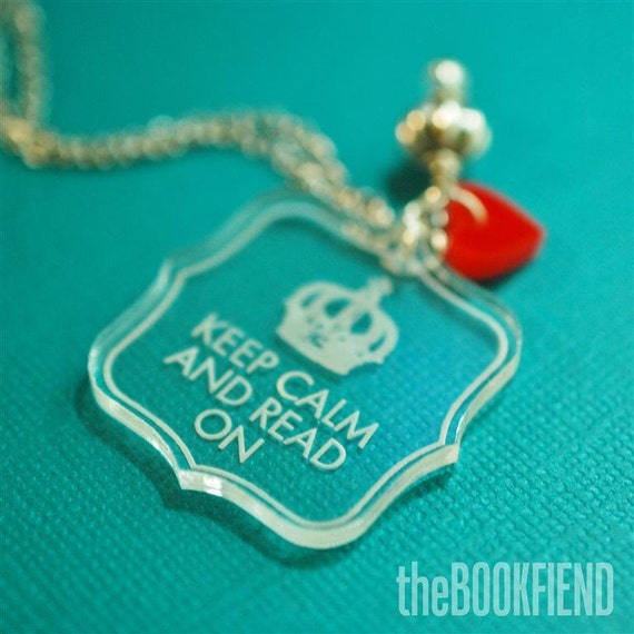Keep calm and read on acrylic necklace