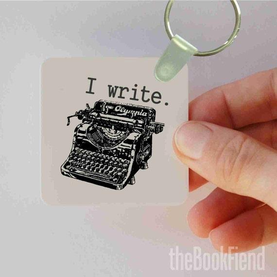i write typewriter keychain