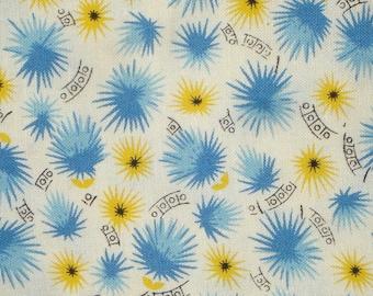 American Jane Peas & Carrots Starburst flower blue/yellow moda fabrics FQ or more