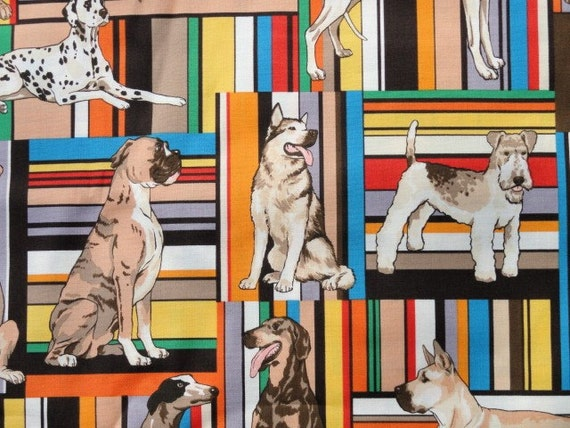 "Alexander Henry ""woof"" dogs on stripes FQ or more"