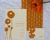 Mod Poppies wedding invitation