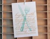 Regency knife & fork menu