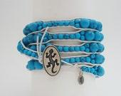 5 Wrap Bracelet Turquoise 3 White Leather