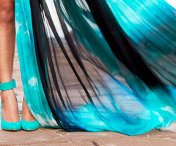 Metropolis Resort Skirt -hand dip dyed chiffon by CWCouture