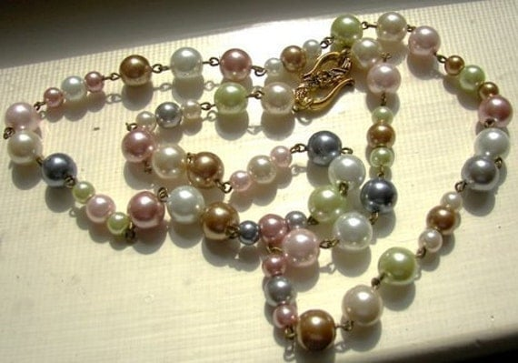 Multicolored Strand of Pearls, Pastel Glass Pearls, Beaded Glass Pearls
