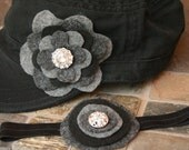 Mommy & Me Set - Black Military Cadet Women's Hat and Matching Headband with Black and Gray Flowers and Shiny Jewel Embellishments