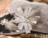 The Twilight Hat - Gray Military Cadet Women's Hat with Beaded and Feathered Blooms