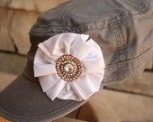 Stunner - Gray Military Cadet Hat with Gorgeous White Fabric Pleated Flower with Stunning Bling Center - One size fits all