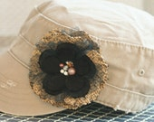 Rustica Jr. - Layered Fabric Flower Embellished with Bling on a Khaki Toddler/Youth Adjustable Hat
