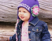 Personalized Name Earflap Hat custom made with name, sizes newborn to 10 years