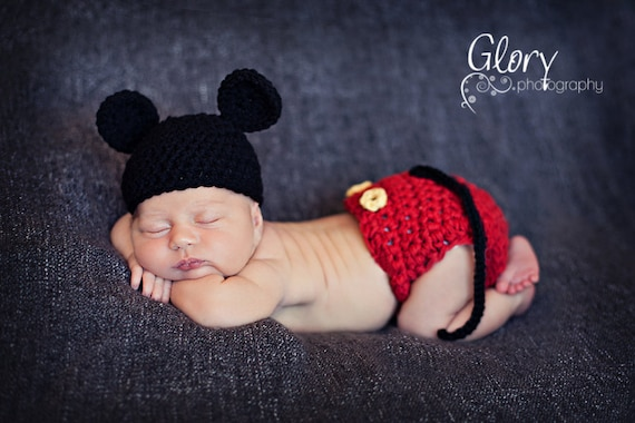 Mickey Mouse Hat and Diaper cover  Newborn Photo Prop