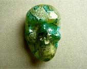 Skull Bead Glass Handmade Lampwork Blue Green SRA