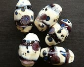 Lampwork Nugget Beads Purple and Ivory SRA