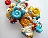Handmade Glass Spiral Beads Turquoise Yellow Ivory SRA
