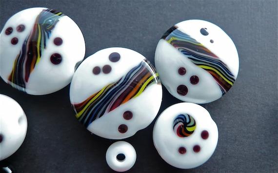 Glass Lampwork Bead Set Rainbows On White SRA