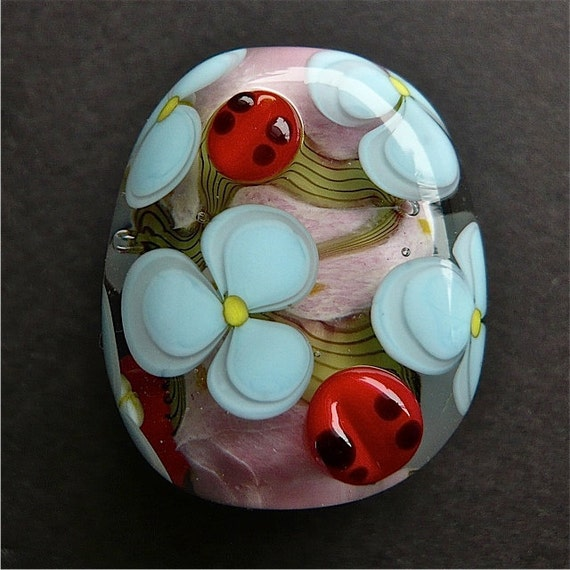 Glass Bead Focal Flowers Ladybugs Spring SRA