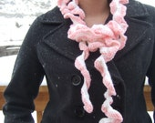 Long skinny pink and white ruffle crochet scarf