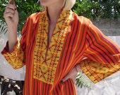 Festive VINTAGE hand woven embroidered Guatemalan Maxi Dress Fantastic bohemian Summer Dress 1960s 1970s LOVE