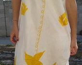 Romantic Hand Embroidered Bohemian Bird Vintage Mexican Summer Dress 60s 70s Pretty Hippie