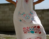 Pretty Fiesta LONG Vintage Mexican Hand Embroidered Dress Sweet Hippie 60s 70s