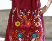 Gorgeous Romantic Hand Embroidered Vintage Mexican Dress Bohemian Gypsy Wow