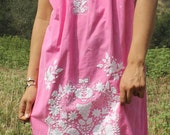 Pretty in Pink Vintage Hand Embroidered Mexican Dress Spring Flowers