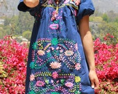 Lovely Vintage Hand Embroidered Mexican Mini Dress Romantic Flowers