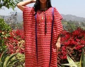 ON HOLD Awesome Vintage Huipil Poncho Mexican Gypsy Hand Embroidered  1960s 1970s