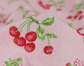 Japanese cotton linen fabric -Cherry in Pink ( 70cm x 45cm )