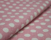 Japanese cotton linen blended fabric -Retro style polka dots-- White on pink----(Fat Quarter 27X18 inches)