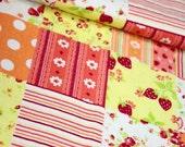 ON SALE - 2Yard Japanese cotton linen blended fabric - Patchwork -Orange (180cmx140cm)