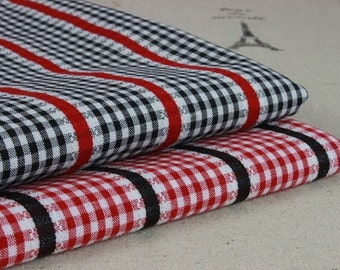 ON SALE-1yards Japanese cotton fabric-Jacquard-Red and white Gingham(90cm x140 cm)
