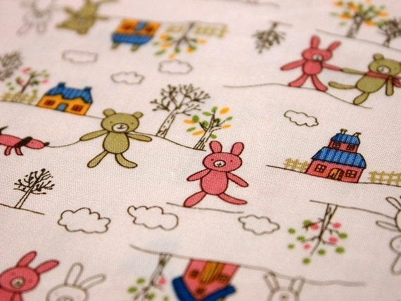 ON SALE-Last-95cm x 150 cm-lovely Japanese Cotton Fabric---Bunny and Bear In The Woods( Pink)--36in x 59in