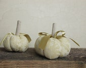 Set of 2 decorative Light olive green jacquard pumpkins