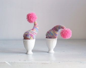 SALE 10% OFF Multicolor egg warmers with pink pom