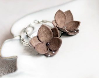 Leather earrings in latte brown. Handmade leather jewelry. Womens gift under 15.