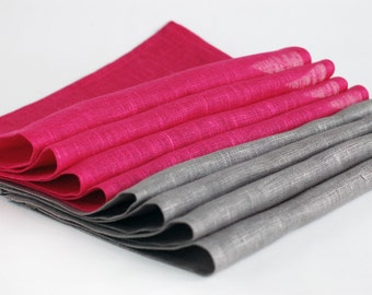 Natural linen napkins. Set of grey and magenta linen napkins.