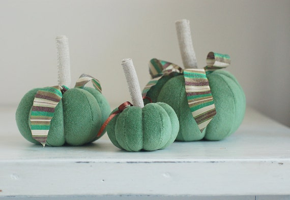 Set of 3 Mint green velvet pumpkins