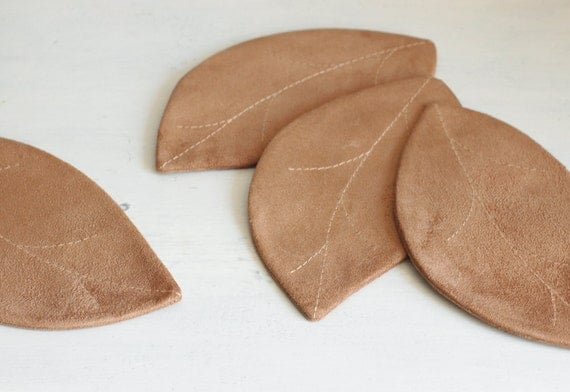 Last one. Latte brown leaf coasters, set of 4