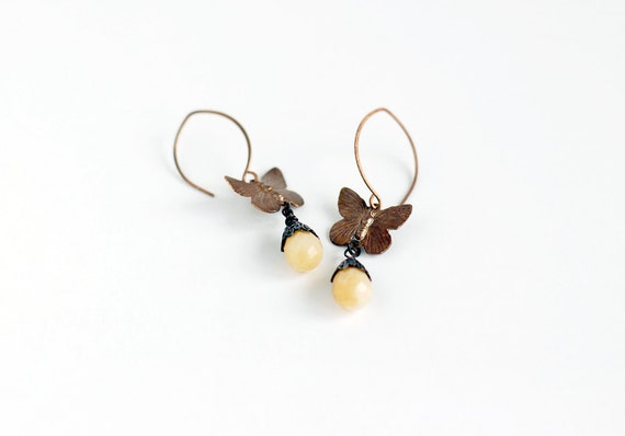 Butterfly flight earrings with Yellow Jade faceted teardrop briolettes