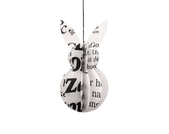 Easter bunny ornament upcycled of paper black and white modern decoration by renna deluxe