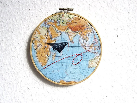 Aviator on world tour // Paper aviator on a world map with flight path, Hoop art, vintage graphic, wall decoration art by renna deluxe