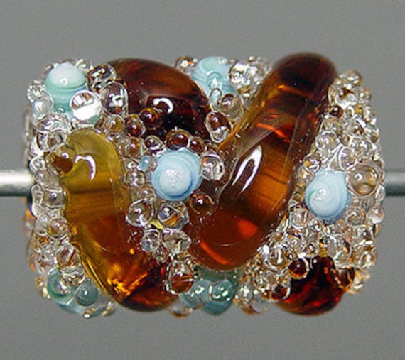 Amber  Lampwork  Focal Bead   SALE