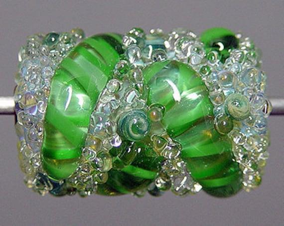 Green  Lampwork  Focal Bead   SALE