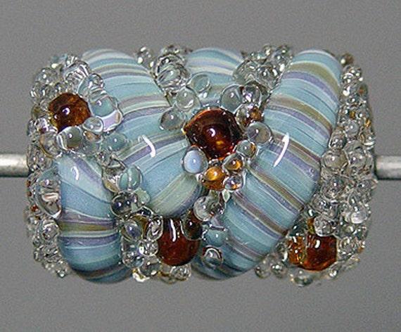 Blue Lampwork  Focal Bead   SALE