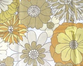 Mustard Yellow Vintage Flower Print Upcycled Vintage Sheet Cotton Material Fat Quarter Fabric
