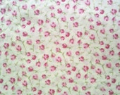 Pale Pink Red Roses on Cream Vintage Sheet Cotton Linen Fat Quarter of Fabric