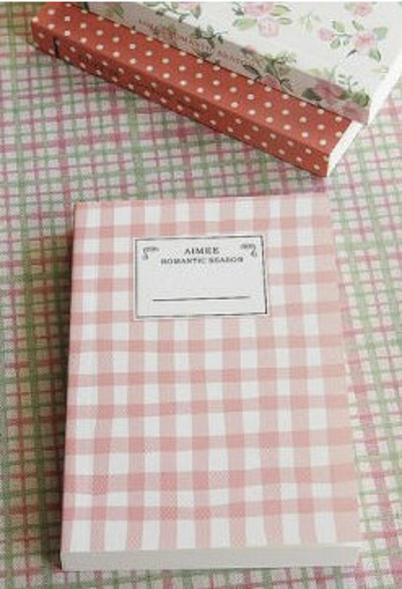 Kawaii Korean Stationery Pink gingham Notebook Back To School Sale Free Shipping