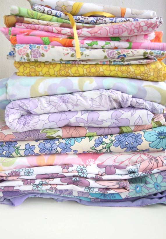10 Fat Quarters in a Bundle of Vintage Floral Upcycled Sheet Fabric Discount Included
