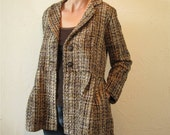 Brown and Beige Tweed Pleated Jacket